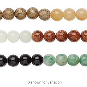 Bead, Multi-gemstone (natural / Dyed / Manmade), Multicolored, 6mm Round, B Grade. Sold Per 16-inch Strand