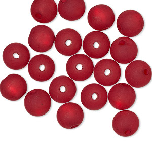 Bead, Cool Frost Resin Beads™, Resin, Frosted Matte Red, 8mm Round. Sold Per Pkg 20 7528PB