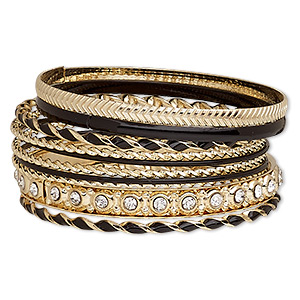 7fd13d60ed7 Bracelet, bangle, enamel / glass rhinestone / gold-finished steel ...