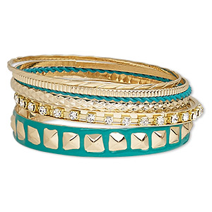 Bracelet, Bangle, Enamel / Glass Rhinestone / Gold-finished Steel, Teal Green Clear, 2-12mm Wide, 8 Inches. Sold Per 6-piece Set 7551JD