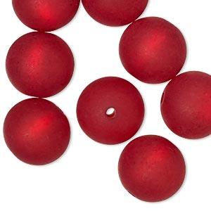 Bead, Cool Frost Resin Beads™, Resin, Frosted Matte Red, 14mm Round. Sold Per Pkg 8 7552PB
