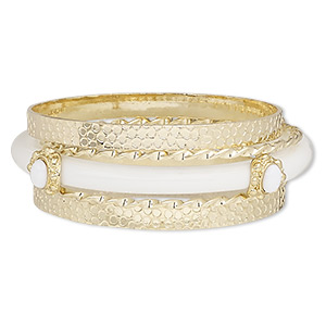 Bracelet, Bangle, Enamel / Acrylic / Gold-coated Plastic / Gold-finished Steel, White, 3-8mm Wide, 8 Inches. Sold Per 5-piece Set 7556JD