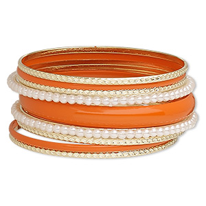 Bracelet, Bangle, Enamel / Acrylic / Gold-finished Steel, White Orange, 3-11mm Wide, 8-1/2 Inches. Sold Per 9-piece Set 7559JD