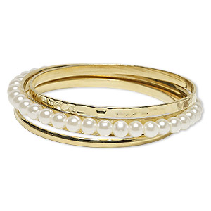 Bracelet, Bangle, Acrylic Gold-finished Steel, Clear White, 4-8mm Wide, 8-1/2 Inches. Sold Per 3-piece Set 7560JD