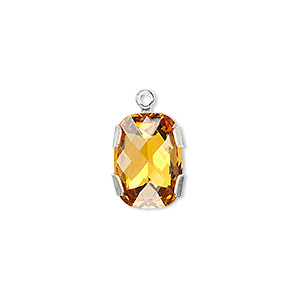Drop, Swarovski® Crystals Silver-plated Brass, Crystal Passions®, Topaz, 14x10mm Rectangle (11504). Sold Individually 11504
