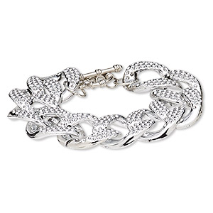 Bracelet, Silver-coated Plastic Silver-plated Steel, 24mm Wide 29x24mm Textured Twisted Oval, 7 Inches Toggle Clasp. Sold Individually 7577JD
