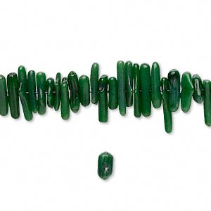 Bead, Coral (dyed), Dark Green, 7x1mm-18x3mm Cupolini, Mohs Hardness 3-1/2 4. Sold Per 16-inch Strand