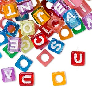 Bead Mix, Acrylic, Translucent Mixed Colors, 6.5x6mm Vertically Drilled Cube Alphabet Letters 3.5mm Hole. Sold Per Pkg 100