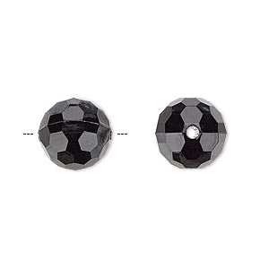Bead, Acrylic, Opaque Black, 12mm Faceted Round. Sold Per 100-gram Pkg, Approximately 100 Beads