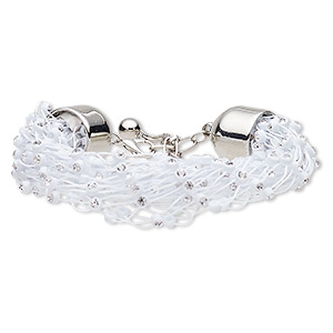 Bracelet, Glass Rhinestone / Acrylic / Nylon / Silver-coated Plastic / Silver-finished Steel, White Clear, 20mm Wide, 6 Inches 2-inch Extender Chain Lobster Claw Clasp. Sold Individually 7625JD