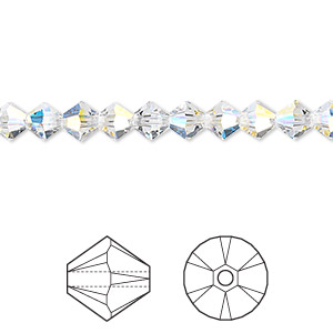 Bead, Swarovski® Crystals, Crystal Passions®, Crystal AB, 5mm Xilion Bicone (5328). Sold Per Pkg 24 5328