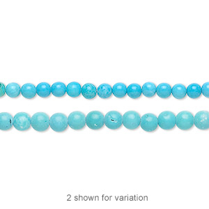 Bead, Magnesite (dyed / Stabilized), Blue, 3mm Round, B Grade, Mohs Hardness 3-1/2 4. Sold Per 16-inch Strand 7637GS