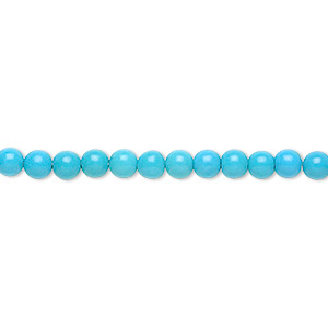 Bead, Magnesite (dyed / Stabilized), Blue, 4mm Round, B Grade, Mohs Hardness 3-1/2 4. Sold Per 16-inch Strand 7638GS