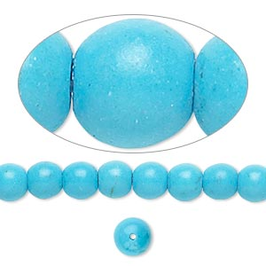 Bead, Magnesite (dyed / Stabilized), Blue, 6mm Round, B Grade, Mohs Hardness 3-1/2 4. Sold Per 16-inch Strand 7639GS