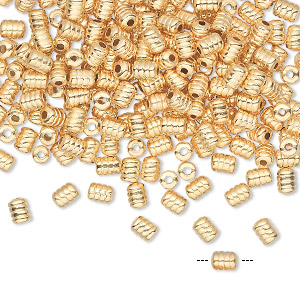 Bead, Gold-plated Brass, 4x3mm Ribbed Tube. Sold Per Pkg 240