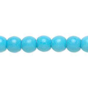 Bead, Magnesite (dyed / Stabilized), Blue, 8mm Round, B Grade, Mohs Hardness 3-1/2 4. Sold Per 16-inch Strand 7640GS
