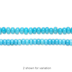 Bead, Magnesite (dyed / Stabilized), Blue, 4x2mm Rondelle, B Grade, Mohs Hardness 3-1/2 4. Sold Per 16-inch Strand 7642GS