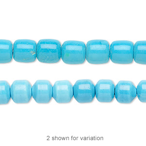Bead, Magnesite (dyed / Stabilized), Blue, 7x7mm Drum, B Grade, Mohs Hardness 3-1/2 4. Sold Per 16-inch Strand 7645GS