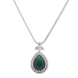 Necklace, Austrian Crystal / Glass / Silver-plated Brass, Emerald Green Clear, 36x20mm Teardrop, 18 Inches 2-inch Extender Chain Lobster Claw Clasp. Sold Individually 7649JD