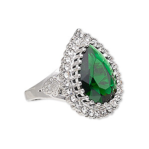 Ring, Austrian Crystal / Glass / Silver-plated Brass, Emerald Green Clear, 27x21mm Teardrop, Size 10. Sold Individually 7651JD