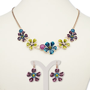 """Necklace Earring, Acrylic / Enamel / Glass Rhinestone / Rose Gold-finished Steel / """"pewter"""" (zinc-based Alloy), Multicolored, Flowers, 18-inch Necklace 2-inch Extender Chain Lobster Claw Clasp, 32mm Earrings Leverback Earwire. Sold Per Set 7663JD"""