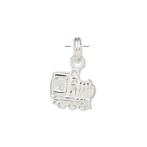 Charm, Sterling Silver, 13x12mm Locomotive. Sold Individually