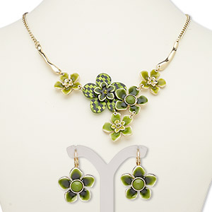 """Necklace Earring, Acrylic / Enamel / Glass Rhinestone / Gold-finished Steel / """"pewter"""" (zinc-based Alloy), Multi-green, Flowers, 18-inch Necklace 2-inch Extender Chain Lobster Claw Clasp, 31mm Earrings Leverback Earwire. Sold Per Set 7667JD"""
