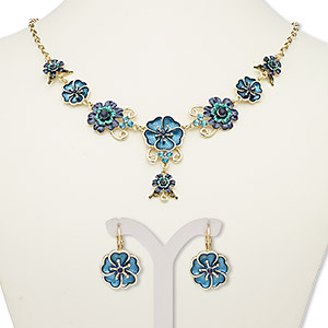 """Necklace Earring, Enamel / Glass Rhinestone / Gold-finished Steel / """"pewter"""" (zinc-based Alloy), Teal / Blue / Teal Green, Flowers, 18-inch Necklace 2-inch Extender Chain Lobster Claw Clasp, 27mm Earrings Leverback Earwire. Sold Per Set 7670JD"""