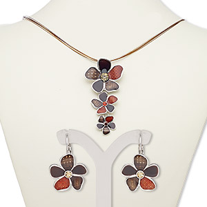 """Necklace Earring, 5-strand, Enamel / Glass Rhinestone / Silver-plated Steel / """"pewter"""" (zinc-based Alloy), Multi-brown, 3-inch Dangle Flowers, 18-inch Necklace 2-inch Extender Chain Lobster Claw Clasp, 29mm Earrings Leverback Earwire. Sold Per Set 7675JD"""