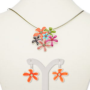 """Necklace Earring, 3-strand, Enamel / Glass Rhinestone / Silver-plated Steel / """"pewter"""" (zinc-based Alloy), Multicolored, Flowers, 18-inch Necklace 2-inch Extender Chain Lobster Claw Clasp, 28mm Earrings Leverback Earwire. Sold Per Set 7678JD"""