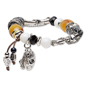 "Bracelet, Stretch, Acrylic / Enamel / Glass / Porcelain / Waxed Cotton Cord / Antique Silver-coated Acrylic / Silver- / Antique Silver-plated Brass / Steel / ""pewter"" (zinc-based Alloy), Multicolored, 14mm Wide 1-3/4 Inch Dangle, 7-1/2 Inches. Sold Indiv"