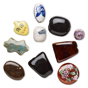Focal Bead Mix, Ceramic Porcelain, Mixed Colors, 22x14mm-56x41mm Mixed Shape. Sold Per Pkg 10