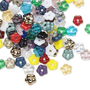 Bead Mix, Czech Pressed Glass, Mixed Colors, 5x2mm Flower Rondelle. Sold Per Pkg 100 111-49203-00-5mm-99999-99999