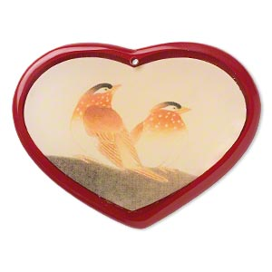 Focal, Resin, Multicolored, 69x52mm Single-sided Heart Bird Decal. Sold Individually