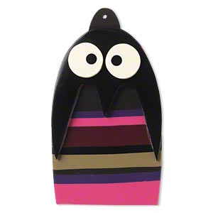 Focal, Resin, Multicolored, 83x47mm Top-drilled Penguin. Sold Individually