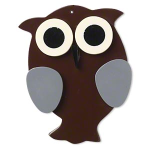 Focal, Resin, Multicolored, 79x61mm Top-drilled Owl. Sold Individually