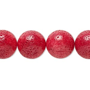 Bead, Sponge Coral (dyed), Red, 14-15mm Round, Mohs Hardness 3-1/2 4. Sold Per 15-inch Strand