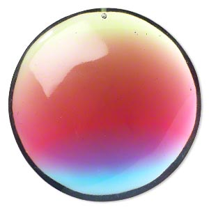 Focal, Resin, Multicolored, 74mm Top-drilled Puffed Flat Round. Sold Individually