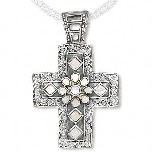 Pendant, Sterling Silver Mother-of-pearl Shell (natural), 68x43mm Cross. Sold Individually 7715JW