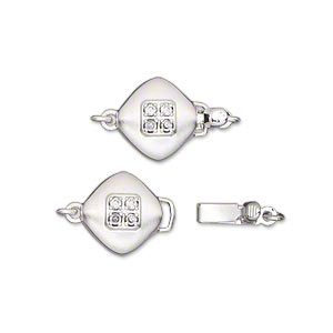Clasp, Tab Safety, Glass Rhinestone Silver-plated Brass, Clear, 11x11mm Double-sided Satin Puffed Diamond. Sold Individually