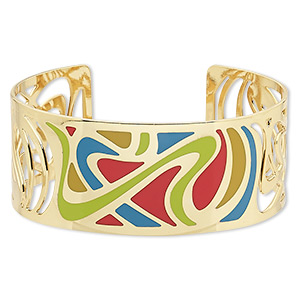 Cuff Bracelets Enameled Metals Gold Colored