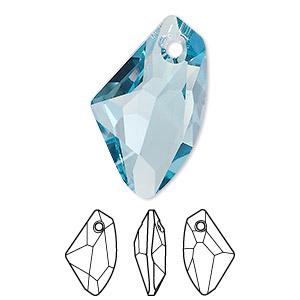 Drop, Swarovski® crystals, Crystal Passions®, aquamarine, 27x16mm ...