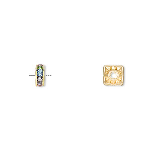 Bead, Gold-finished Brass Glass Rhinestone, Multicolored Light, 6x3mm Squaredelle. Sold Per Pkg 10
