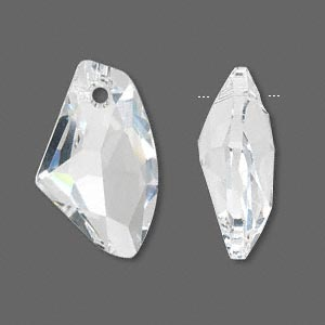 Drop, Swarovski® Crystals, Crystal Passions®, Crystal Clear, 27x16mm Faceted Galactic Vertical Pendant (6656). Sold Individually 6656