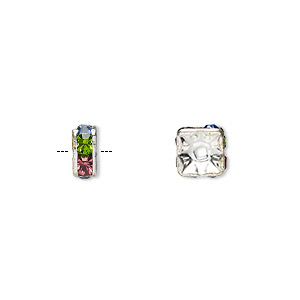 Bead, Glass Rhinestone Silver-plated Brass, Multicolored Light, 6x3mm Squaredelle. Sold Per Pkg 10