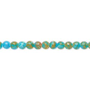 Bead, Resin Multi-stone (dyed / Assembled), Turquoise Blue / Brown / White, 4mm Round. Sold Per 8-inch Strand, Approximately 50 Beads