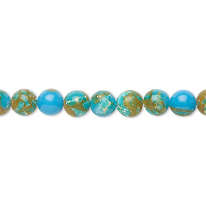 Bead, Resin Multi-stone (dyed / Assembled), Turquoise Blue / Brown / White, 6mm Round. Sold Per 8-inch Strand, Approximately 30 Beads