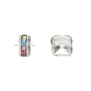 Bead, Glass Rhinestone Silver-plated Brass, Multicolored Light, 8x4mm Squaredelle. Sold Per Pkg 10