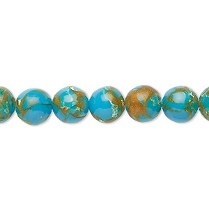 Bead, Resin Multi-stone (dyed / Assembled), Turquoise Blue / Brown / White, 8mm Round. Sold Per 8-inch Strand, Approximately 25 Beads