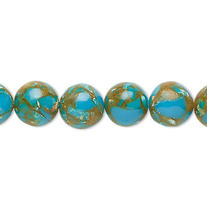 Bead, Resin Multi-stone (dyed / Assembled), Turquoise Blue / Brown / White, 10mm Round. Sold Per 8-inch Strand, Approximately 20 Beads